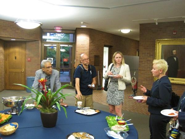In the Rotundra : Prof Singham,Matt Marshall, Elise Helgesen, and Mallory Ullman.