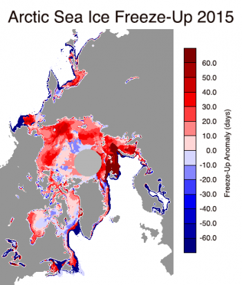 Figure 5. This images shows freeze-up anomalies in the Arctic for 2015. Reds indicate areas where freeze-up began later than average and blues indicate freeze-up beginning earlier than average. Credit: National Snow and Ice Data Center, data provided by J. Miller/T. Markus, NASA Goddard Space Flight Center High-resolution imag